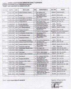 jadwal uts 2014